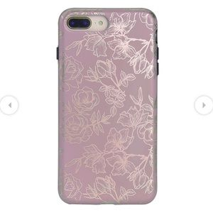 Dusty Rose Chrome Floral iPhone Case with Grip